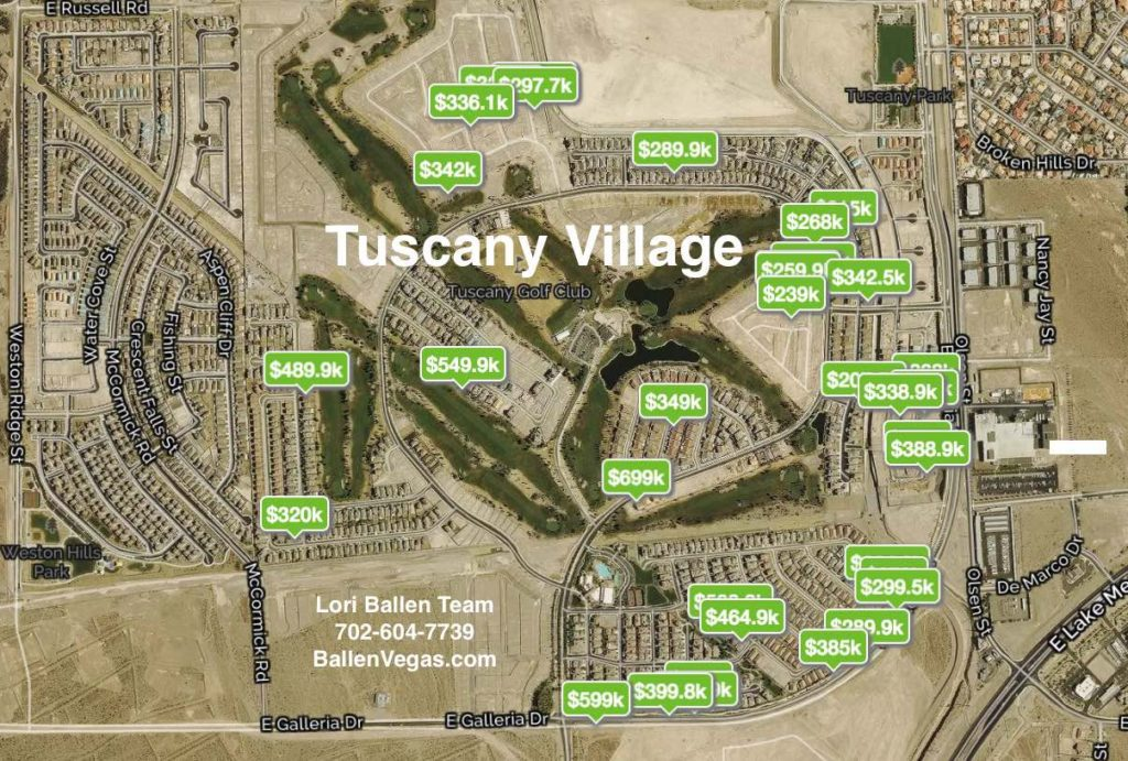 Map of homes for sale pinned on the Tuscany Village Map