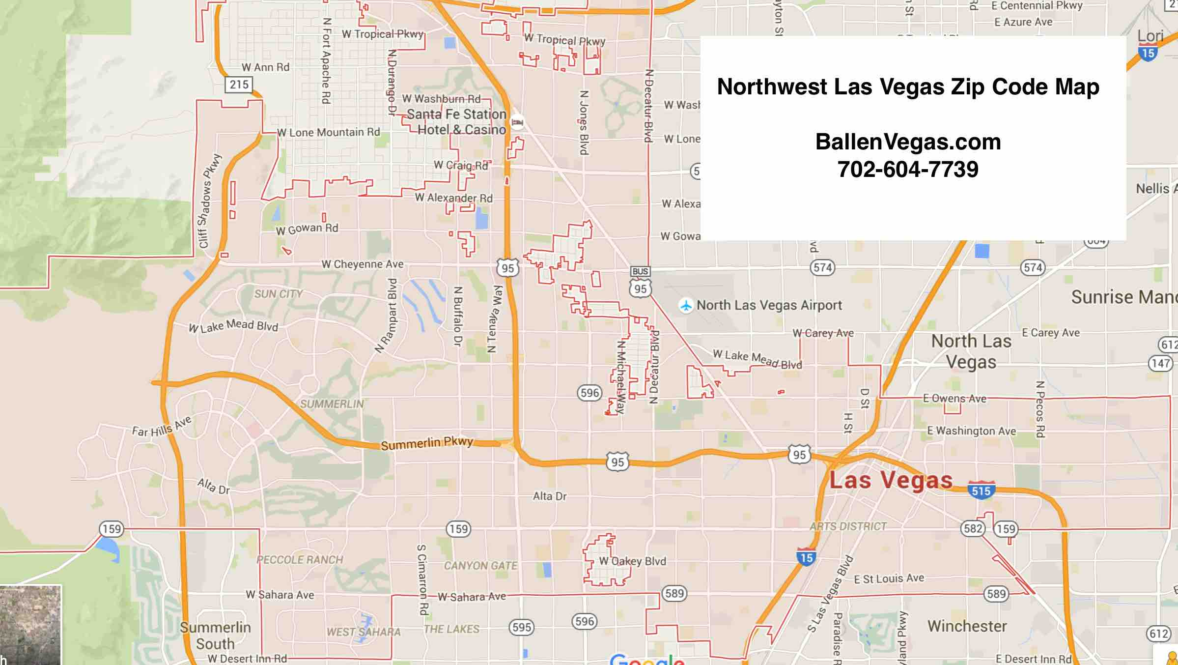 Las Vegas City Map showing Northwest Las Vegas Zip Codes