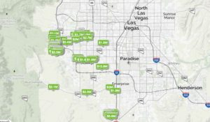 Homes are pinned with prices on a southwest las vegas zip code map