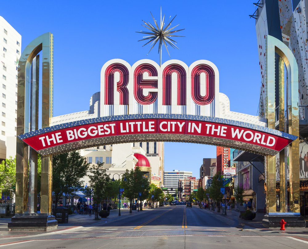 City of Reno showing with sign that reads RENO, The Biggest Little City in the World
