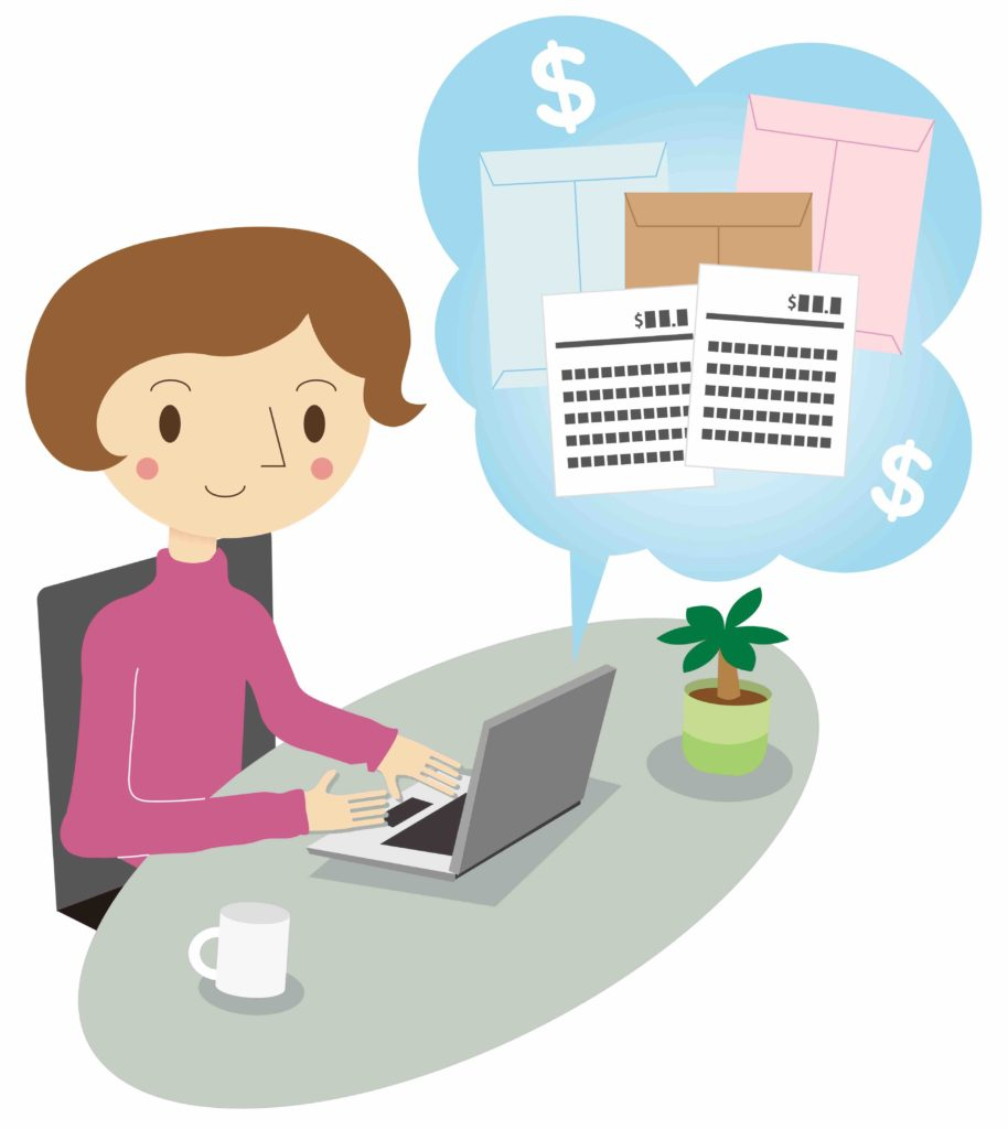 Cartoon woman with rosy cheeks sits at computer reviewing an estimate. Coffee and a plant are on the desk