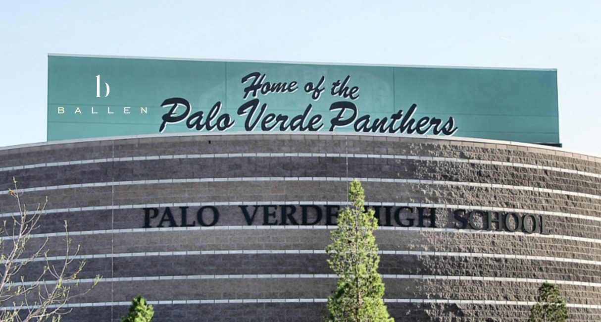 Picture of the front of the Palo Verde High School campus, says home of the palo verde panthers