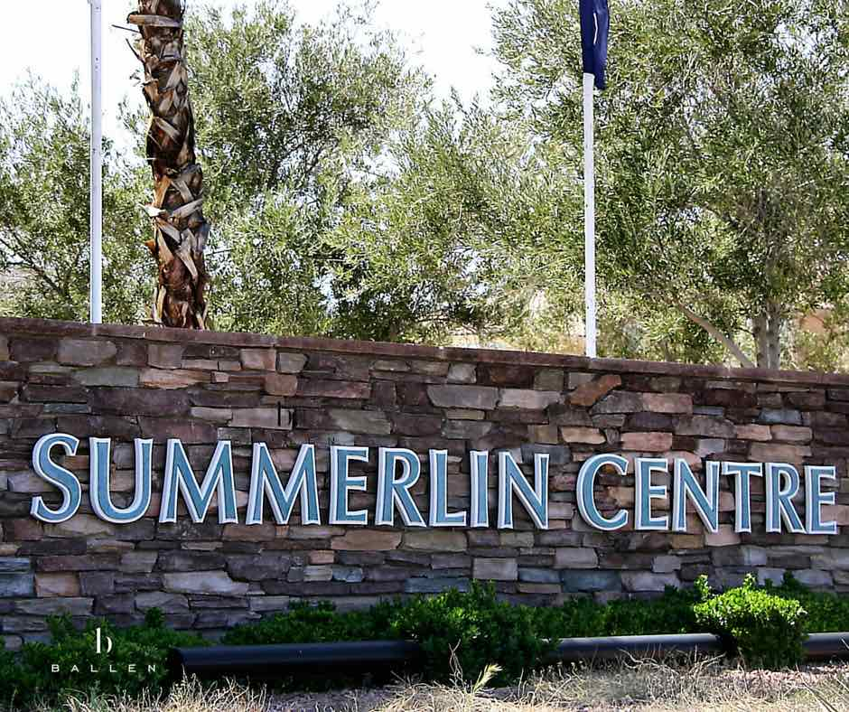 Entrance Sign reads Summerlin Centre with trees