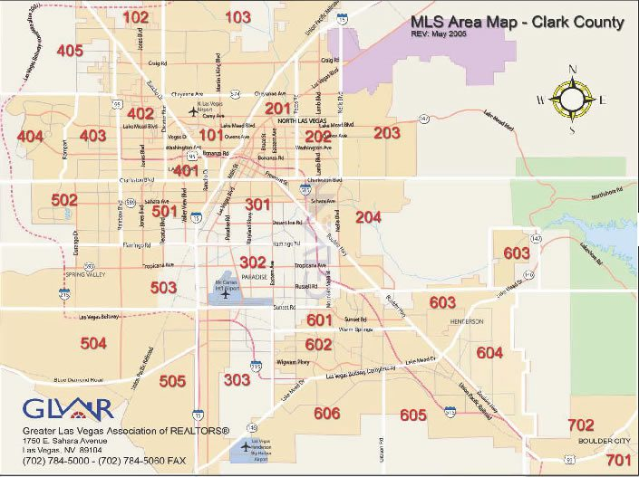 Las Vegas MLS Areas For Real Estate Listings Current Listings - Las vegas map nevada