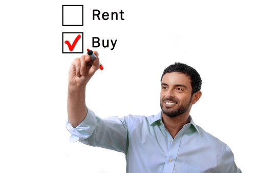 Man has decided to buy a house instead of rent as indicated by his red checkmark choice