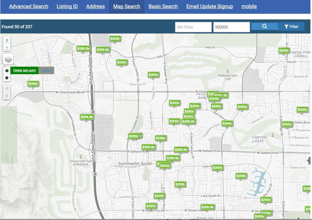 Map Search of Homes for Sale in Las Vegas