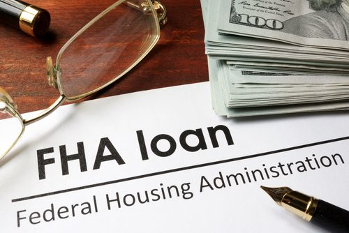 Ppaer with FHA Loan, Federal Housing Administrator, Pen, Glasses, Stack of Money