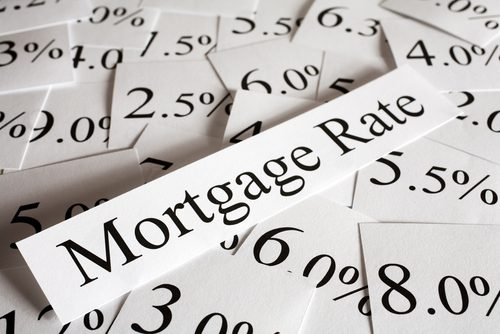 Word Mortgage Rates on tip of a lot of various percentages indicating interest rates affect mortgage rate