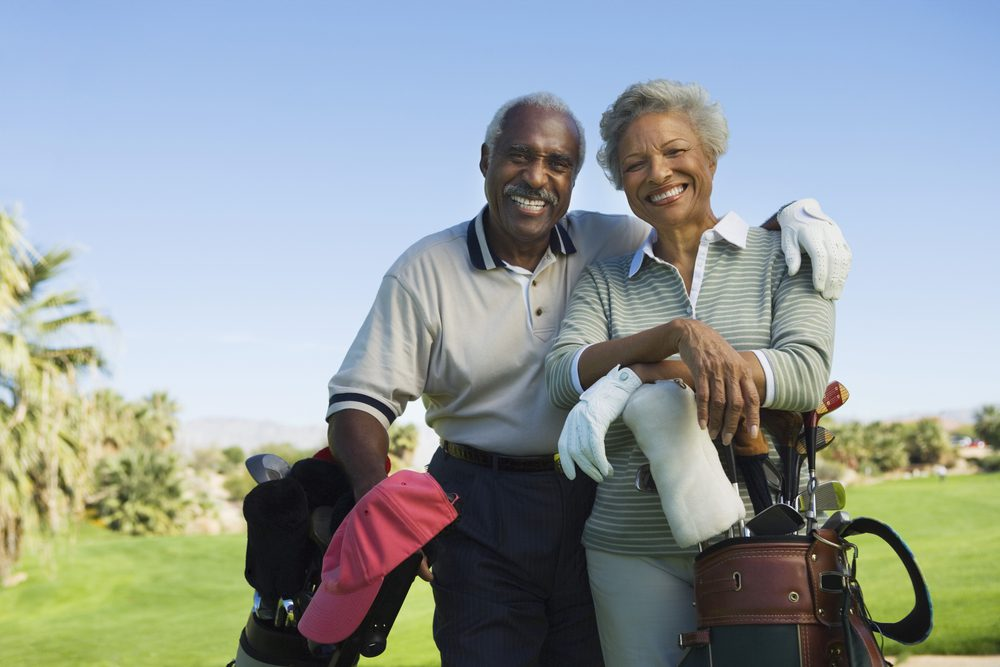 Senior Couple is golfing at home in Las Vegas