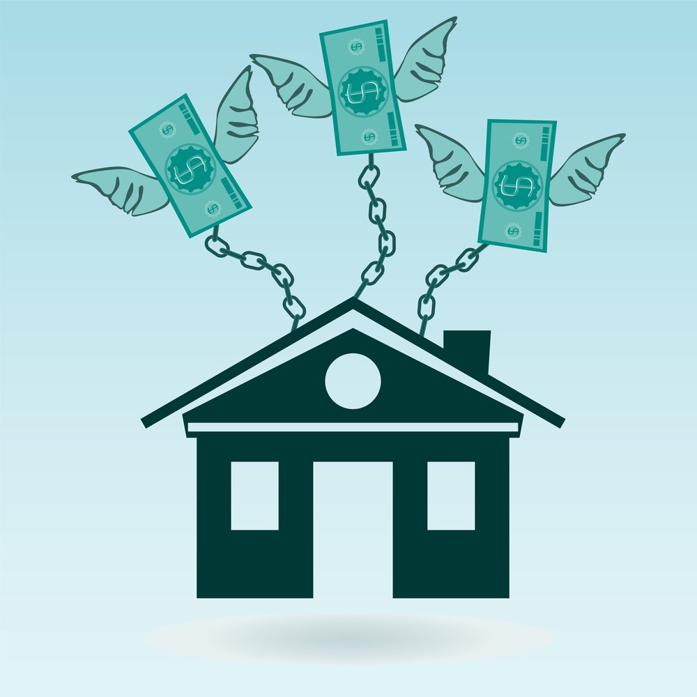 Cartoon house being pulled up in the air by dollar bills with wings