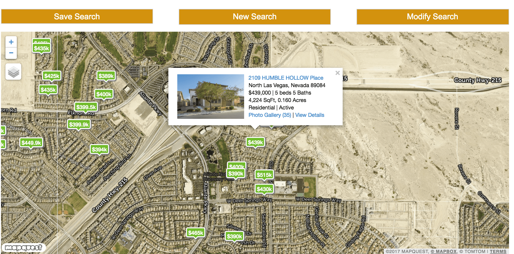 Map of Homes for Sale in Aliante North Las Vegas with prices of homes showing