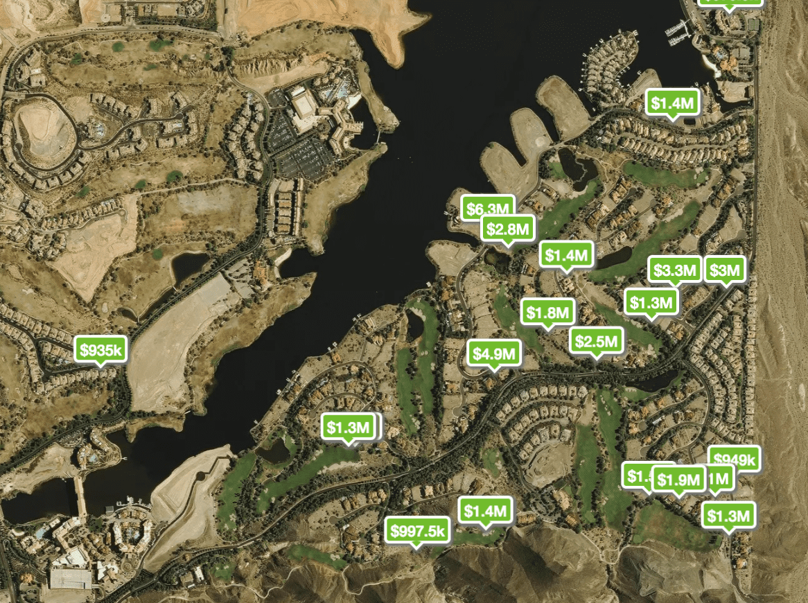 Map of homes with prices pinned to the Lake Las Vegas area