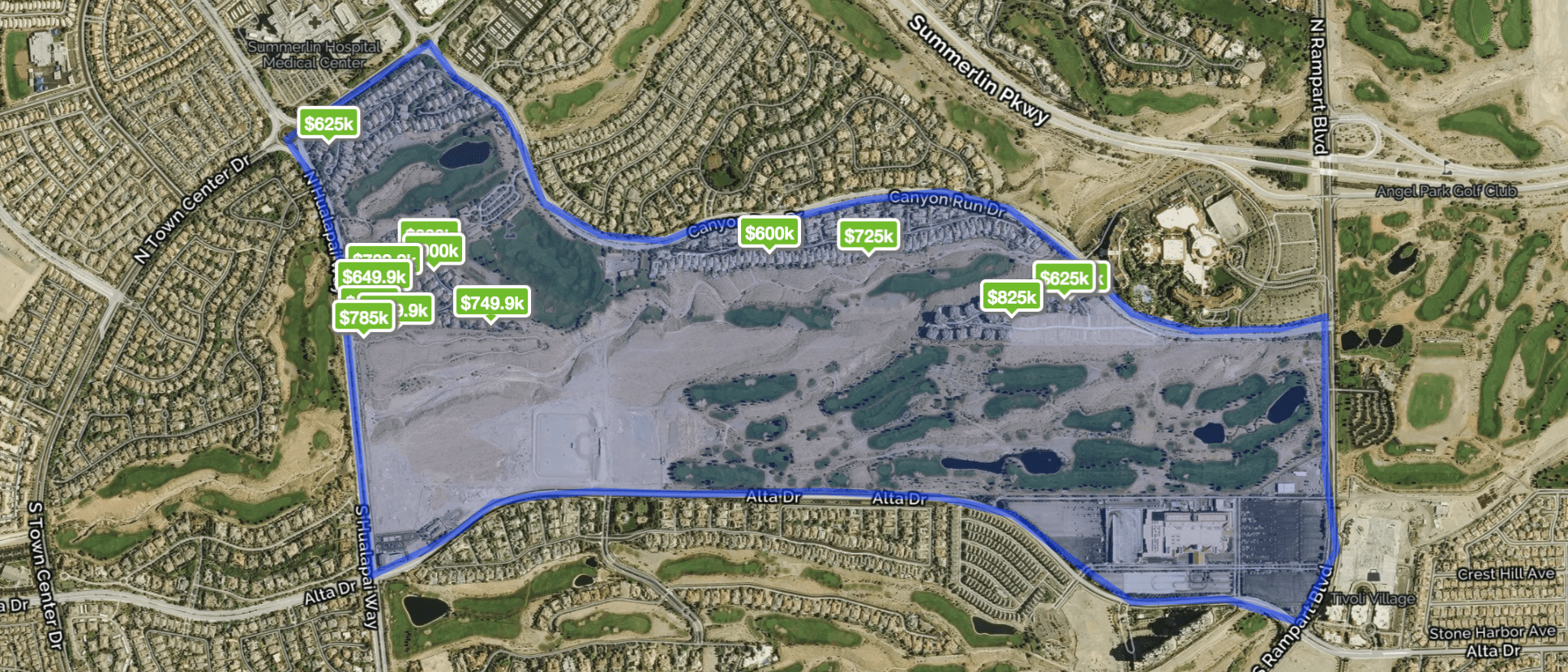 Homes for Sale by Map and Price in The Canyons of Summerlin Nevada