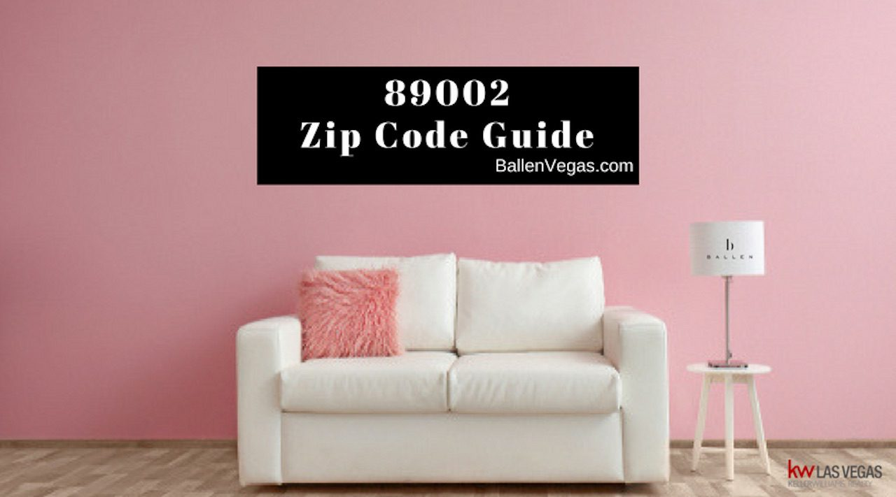 white couch in a pink living room and banner reads 89002 zip code guide
