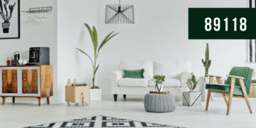 Living Room, Green and White Furniture, Plants, Reads 89118