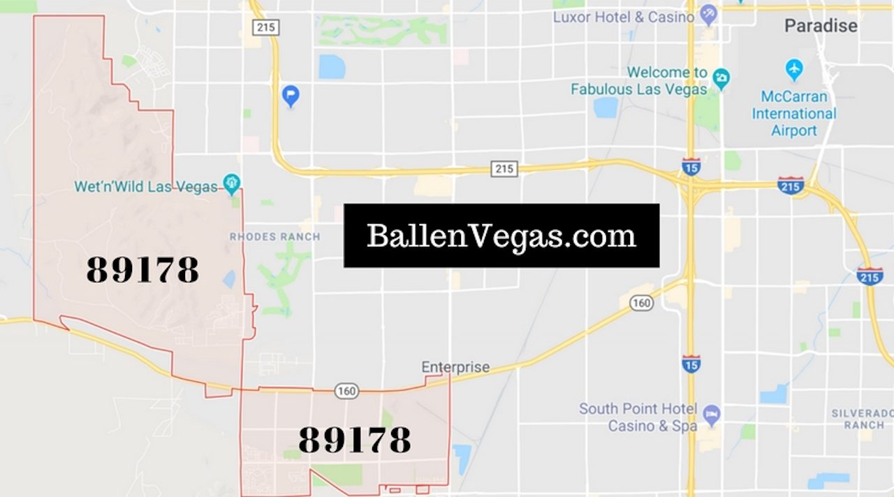 Las Vegas City Map with boundaries of the 89178 zip code