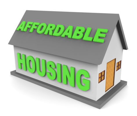 House that reads Affordable Housing representing cheap houses
