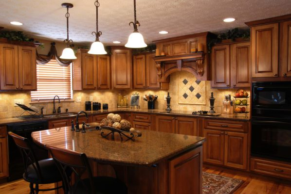 Beautiful Dark Kitchen, 3 lights, island, in a  home that could be in Iron Mountain Ranch Las Vegas