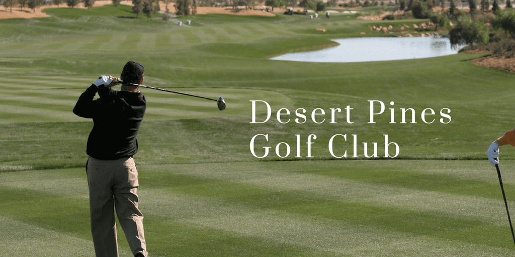 Desert Pines Golf Club Words are writen against a golf course backdrop with desert landscaping, man swings