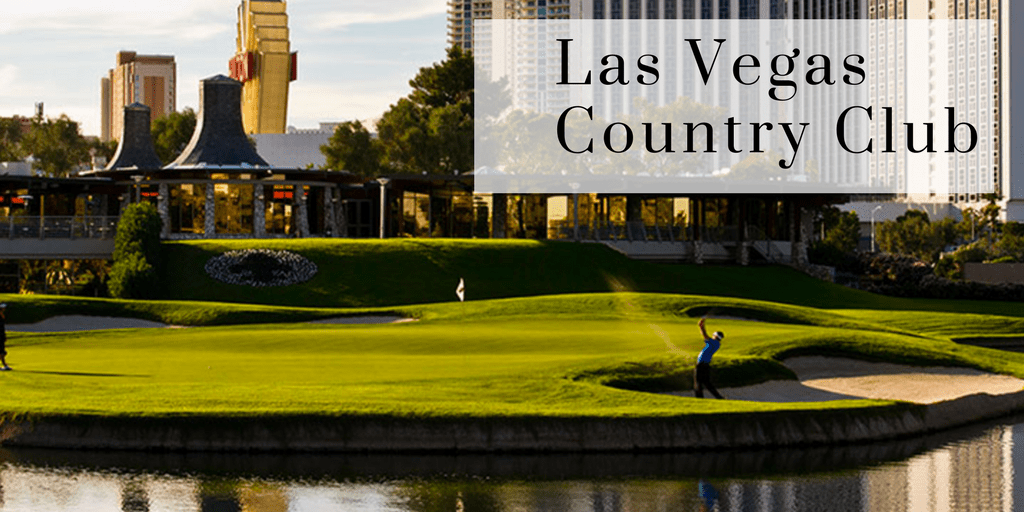 Las Vegas Country Club with Man in center Golfing, water view, city view