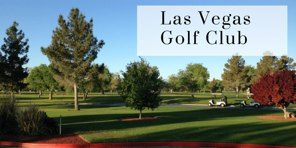 Looks like fall colors have begun to set on the trees shown here on a green grass golf course with title reading Las Vegas Golf Club