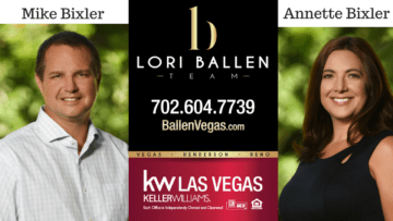 Mike Bixler Left, Lori Ballen Team Logo center, Annette Bixler Right announcement serving las vegas real estate