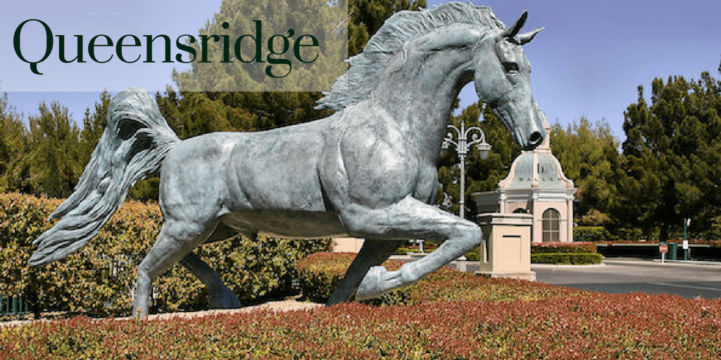 Horse is posed as if running and is at the gate of Queensridge, a Las Vegas neighborhood