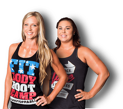 2 Fitness Models in tank tops that read fit body boot camp. Hands on the hips, smiling