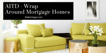 Living room with yellow and black furniture. Sign on wall reads AITD Wrap Around Mortgage Homes and the real estate website URL BallenVegas.com and a logo