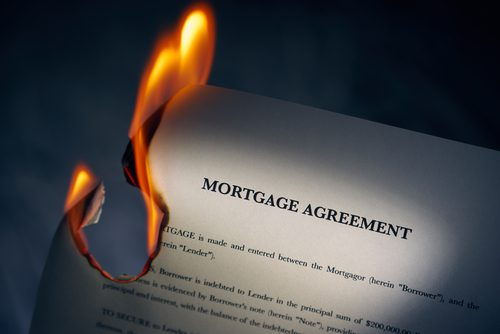 mortgage contract is on fire