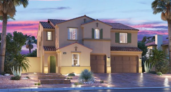 Lights are on in the Camden Model by Lennar in Southwest Las Vegas