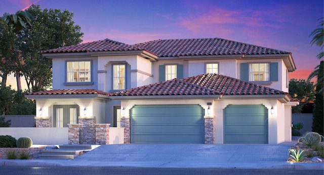 Home is well lit against night sunset, 3 car garage, Cora Model by Lennar