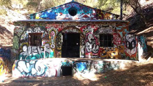Front of bunker rumored to be HItler's in California. It's covered in grafiti