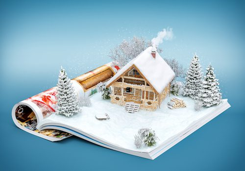 Catalog is opened and shows pop up house, snow, trees