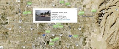 Multip Family Homes pinned on a Greater Las Vegas Area Map with Prices