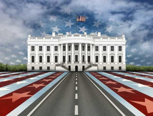 The White house in Washington DC is drawn with flat, red, white, and blue leading up a road to the building