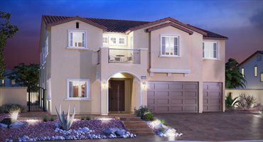 Model Home by Lennar, called The Wimbledon has lights on, light colored, blue sky