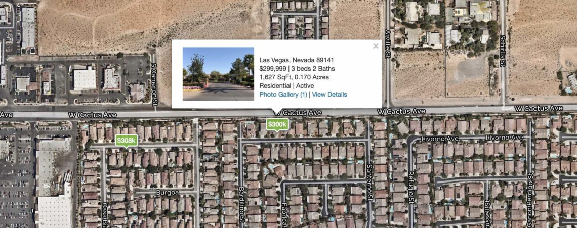 Green icons with prices represent homes in 89141 zip code on the Las Vegas Map