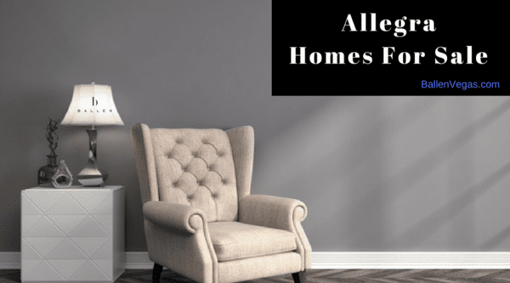 Chair is against a grey wall next to a table and lamp that has the Ballen Vegas Real Estate Logo. Banner spells out the words allegra homes for sale