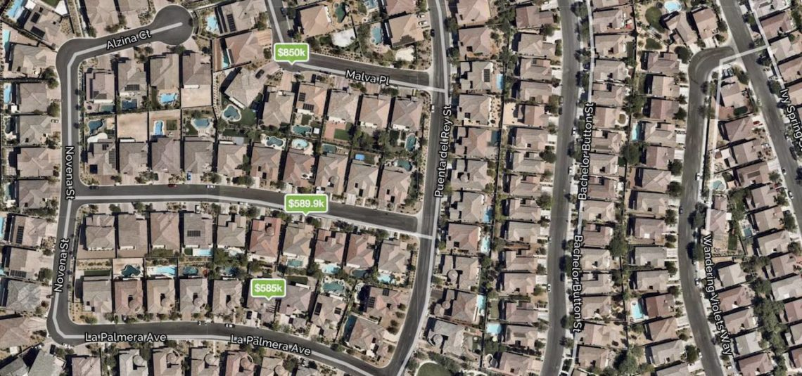 Barcelona at The Paseos Neighborhood Map in Summerlin Las Vegas showing homes for sale with prices