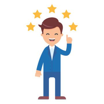 Cartoon man in a blue suit jacket is poinging up at 5 stars and smiling as if to leave a positive review