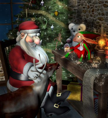 Santa is sitting in his chalet with his mouse