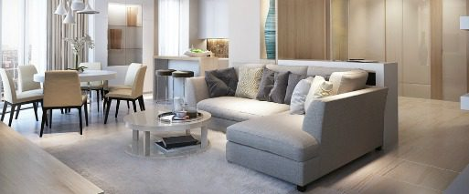 example of Las Vegas Condo living room in neutral tones