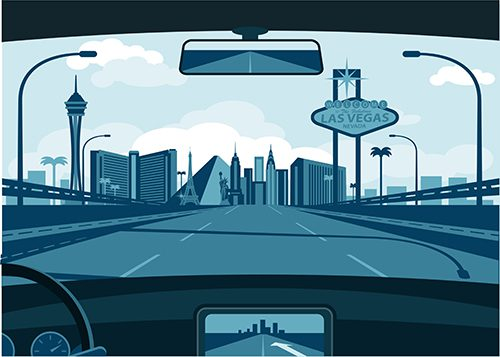 cartoon image of Las Vegas Skyline through the window of a car.