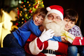 Photos with Santa - Hugs with 2 kids