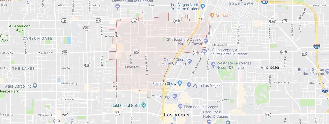 The 89102 zip code is marked out in red on a Las Vegas City Map