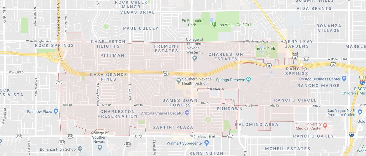 the 89107 zip code is outlined on a Las Vegas City Map
