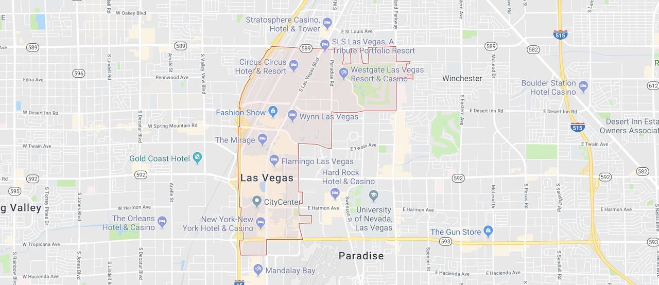 89109 zip code is marked out in red with boundaries on the Las Vegas City Map