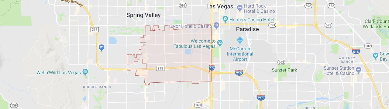 The boundaries of the 89118 zip code are marked out in red on a city map of Las Vegas