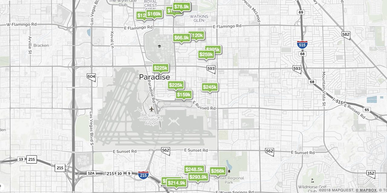 Green boxes with prices represent homes for sale on the 89119 zip code map of Las Vegas
